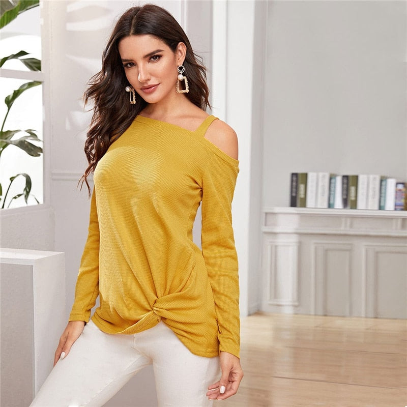 Casual Asymmetrical Neck Twist Hem Sweater - Yellow