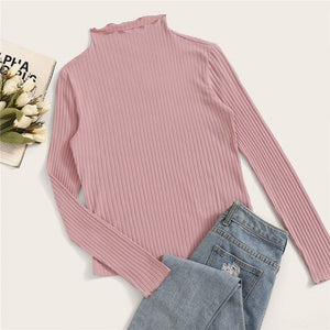 Elegant Stand Collar Solid Lettuce Trim Ribbed Knit T-Shirt - Pink