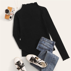 Elegant Stand Collar Solid Lettuce Trim Ribbed Knit T-Shirt - Black