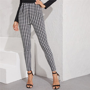 Preppy Zipper Front Gingham Print Skinny Pants - Black and White