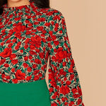 Load image into Gallery viewer, Elegant Floral Print Shirred Neck Blouse - WOMENEXY