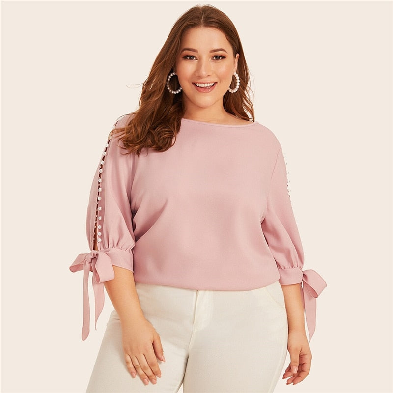 Elegant Pearl Beaded Knot Cuff Plus Size Top - Pink