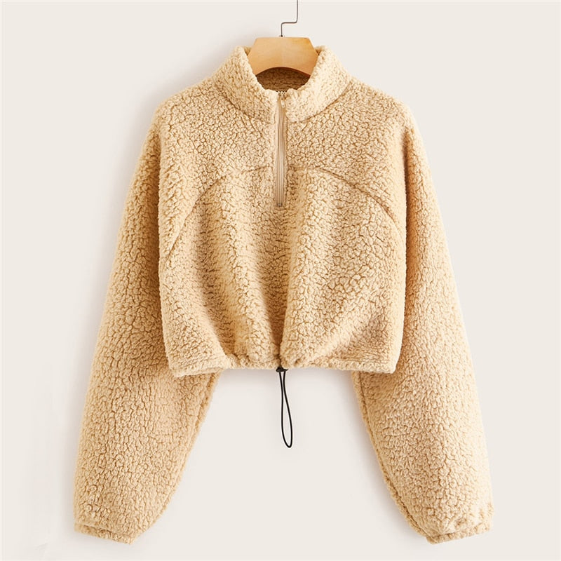 Casual Solid Stand Collar Zipper Half Placket Teddy Sweatshirt - Khaki - WOMENEXY