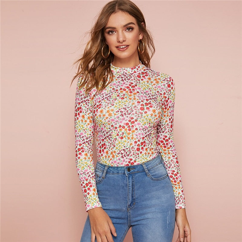 Elegant Mock Neck Ditsy Floral Print Top T-Shirt