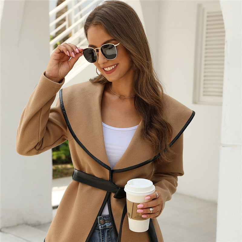 Casual Solid Contrast Binding Waterfall Collar Coat With Belt - Khaki - WOMENEXY
