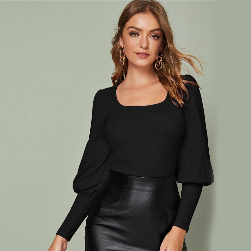 Elegant Solid Leg-of-Mutton Sleeve Top - Black