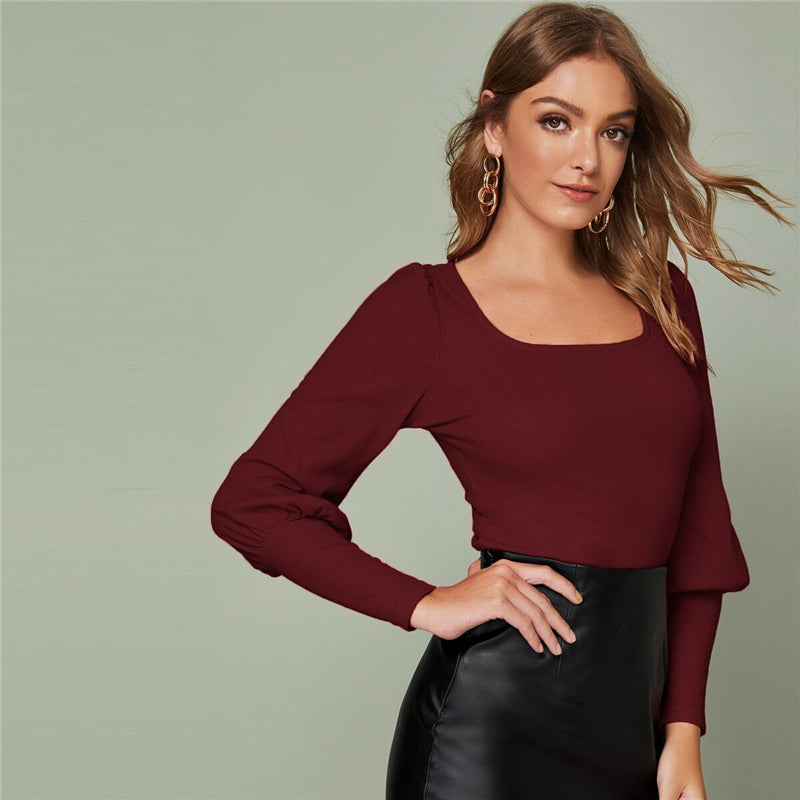 Elegant Solid Leg-of-Mutton Sleeve Top - Burgundy