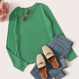 Casual Solid Round Neck Ribbed Knit T-Shirt - Green