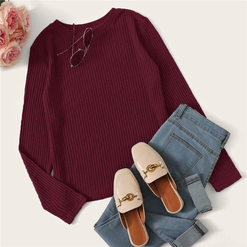 Casual Solid Round Neck Ribbed Knit T-Shirt - Burgundy