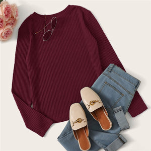 Casual Solid Round Neck Ribbed Knit T-Shirt - Burgundy - WOMENEXY