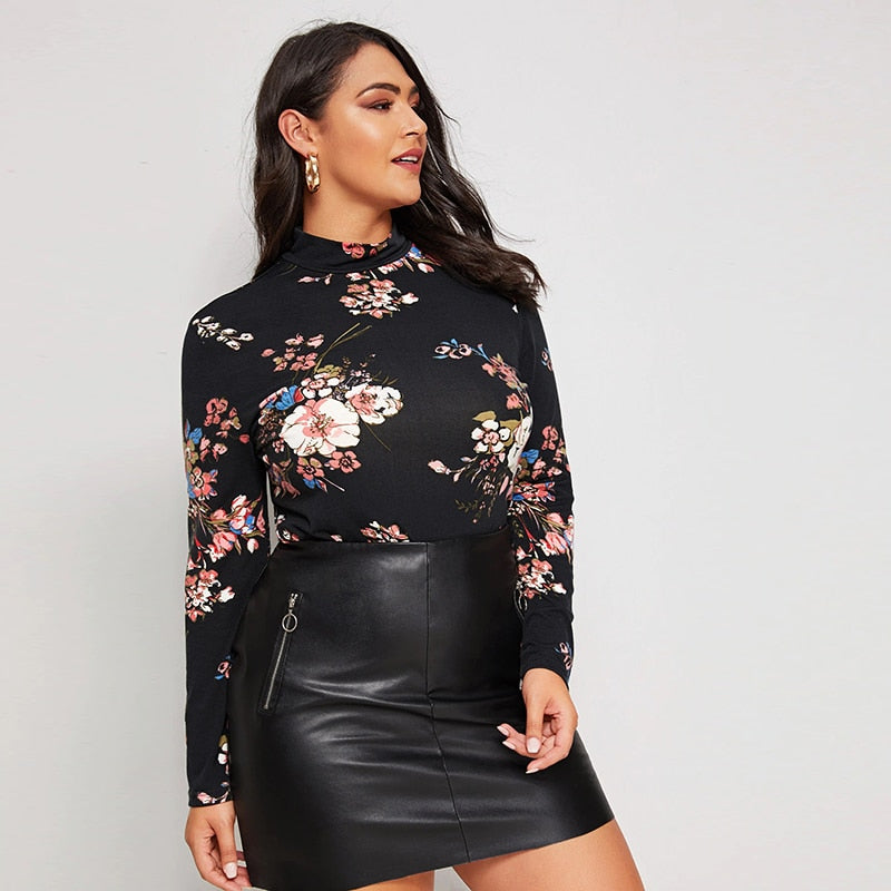 Elegant Mock Neck Floral Print Plus Size Tee - Black