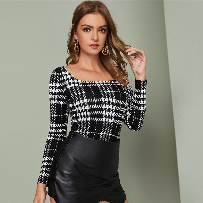 Elegant Square Neck Fitted Plaid Top - Black - WOMENEXY