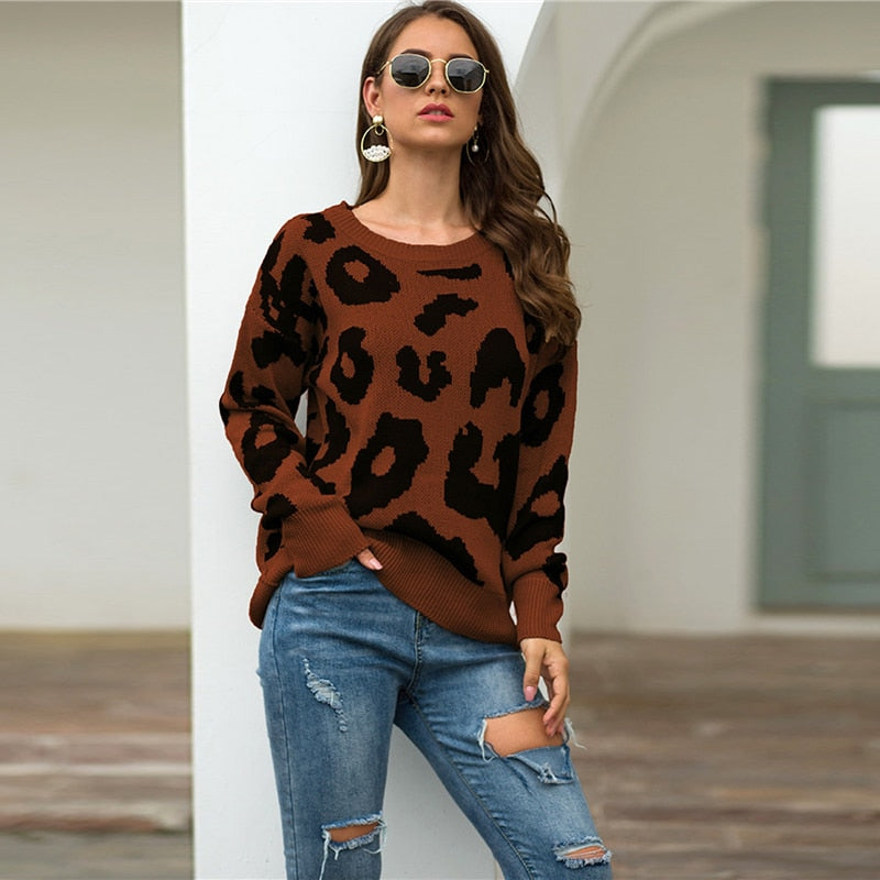 Casual Leopard Print Sweater - Brown