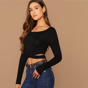 Sexy Solid Cut Out Crisscross Front Crop Top T-Shirt - Black - WOMENEXY