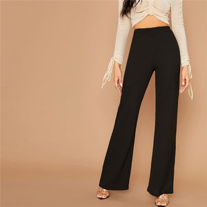 Elegant Solid High Waist Flare Leg Pants - Black