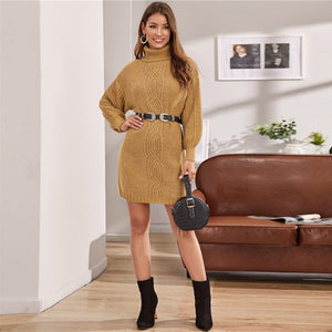 Casual Turtleneck Cable Knir Lantern Sleeve Sweater Dress Without Belt - Camel - WOMENEXY