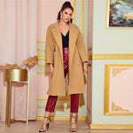 Load image into Gallery viewer, Elegant Notched Collar Split Hem Belted Trench Coat - Camel - WOMENEXY