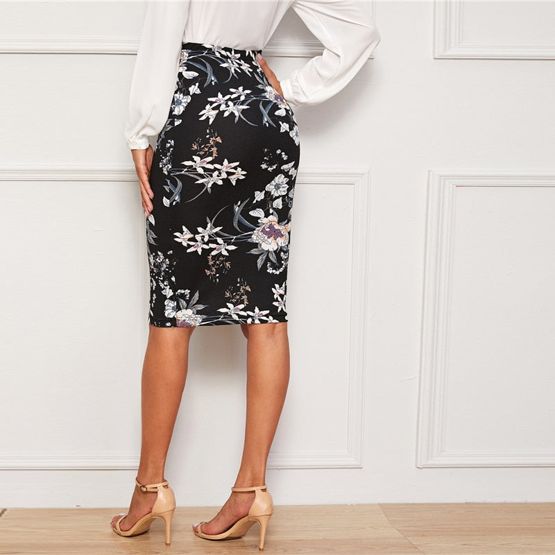 Elegant Plants and Floral Print Pencil Skirt - Black - WOMENEXY