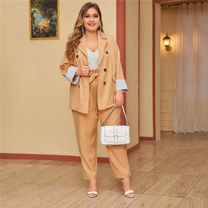 Casual Double Breasted Blazer and Paperbag Waist Belted Pants - Khaki