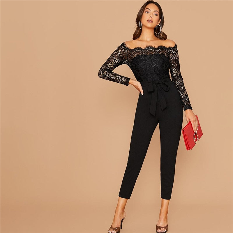 Glamorous Off Shoulder Lace Bodice Self Belted Jumpsuit - Black - WOMENEXY