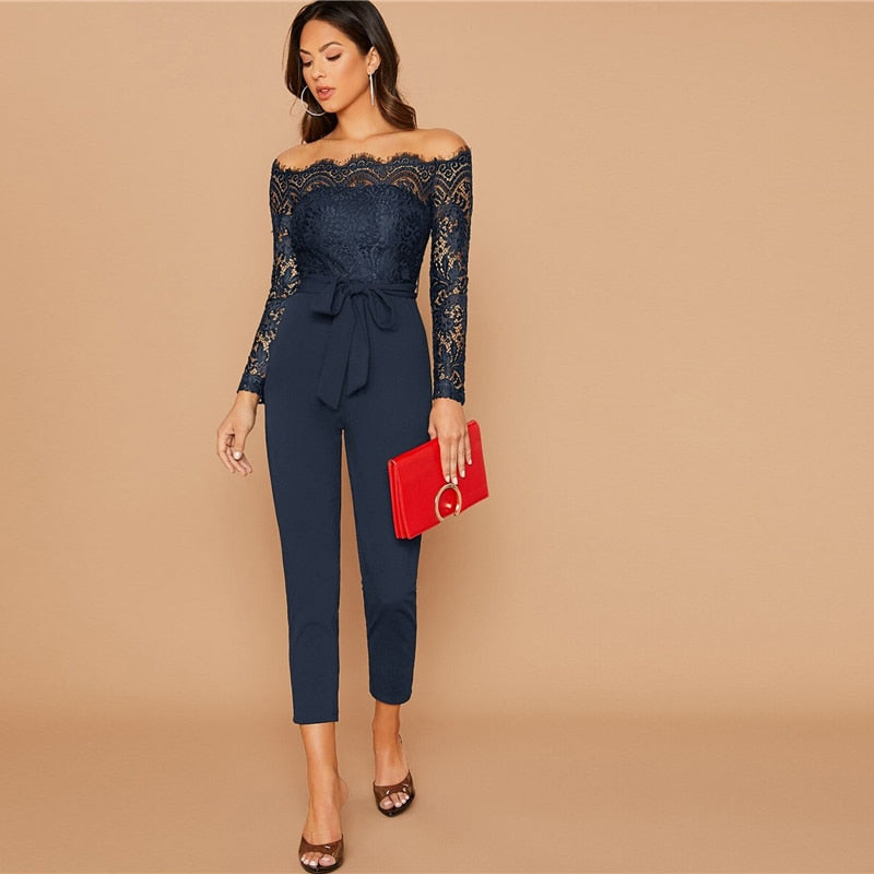 Glamorous Off Shoulder Lace Bodice Self Belted Jumpsuit - Navy - WOMENEXY