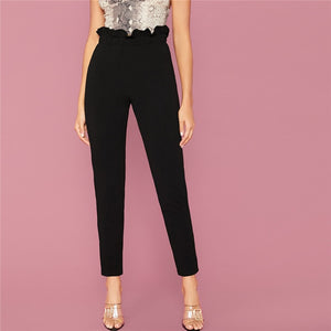 Elegant Solid Paper Bag Waist Trousers - Black