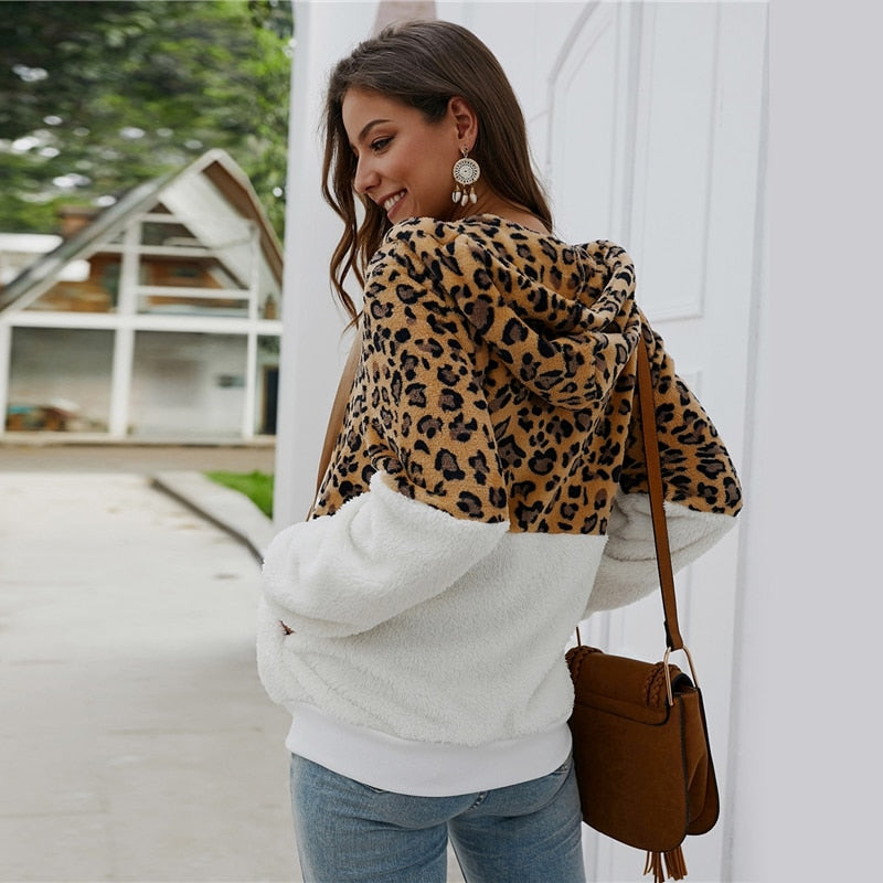 Casual Contrast Leopard Drawstring Hooded Teddy Jacket - White - WOMENEXY