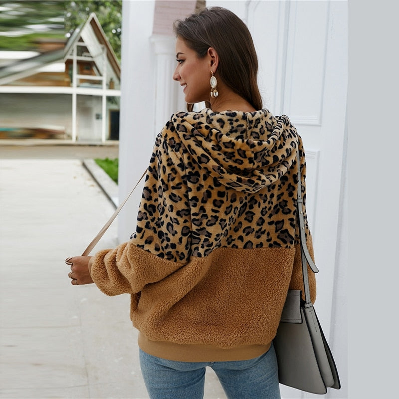 Casual Contrast Leopard Drawstring Hooded Teddy Jacket - Brown - WOMENEXY