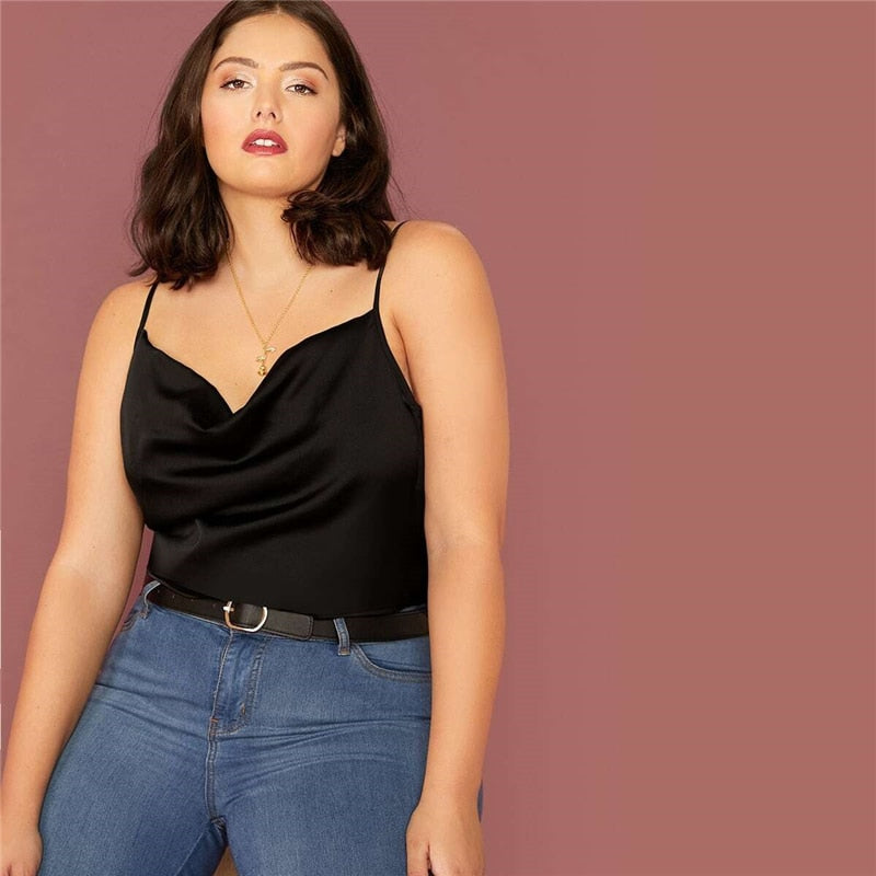 Casual Draped Neck Satin Plus Size Cami Top - Black