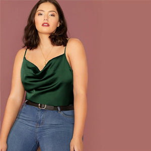 Casual Draped Neck Satin Plus Size Cami Top - Green - WOMENEXY