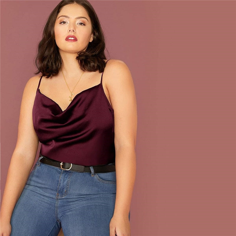 Casual Draped Neck Satin Plus Size Cami Top - Burgundy