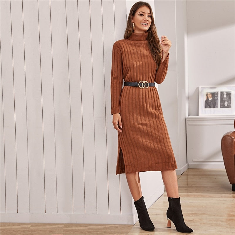 Casual Funnel Neck Solid Ribbed Knit Sweater Dress Without Belt - Camel - WOMENEXY