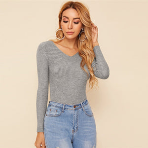 Casual Solid V-Neck Slim Fitted Stretchy Basics Sweater - Gray
