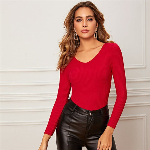 Casual Solid V-Neck Slim Fitted Stretchy Basics Sweater - Red - WOMENEXY