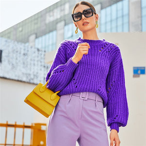 Casual Drop Shoulder Pointelle Chunky Knit Sweater - Purple
