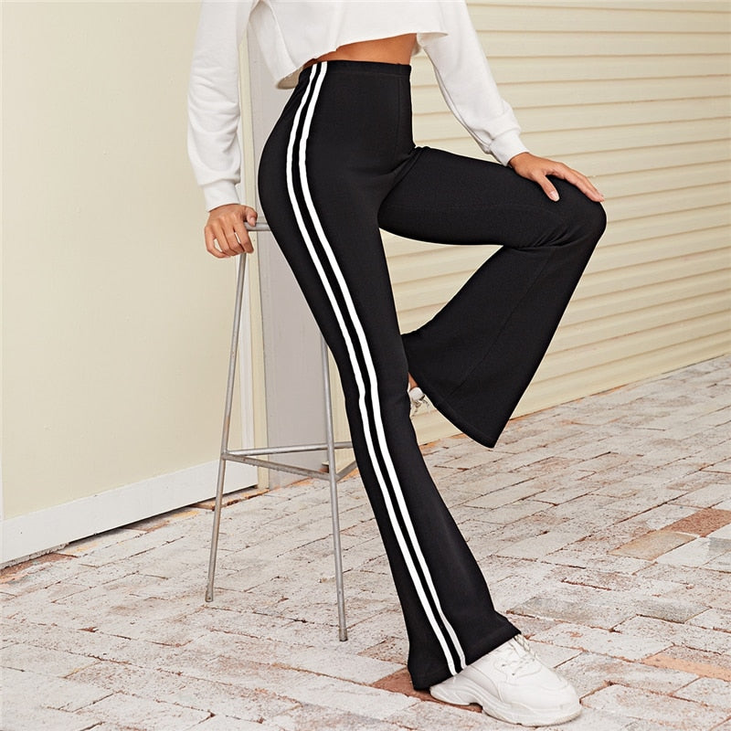 Casual Striped Side Flare Leg Stretchy Pants - Black