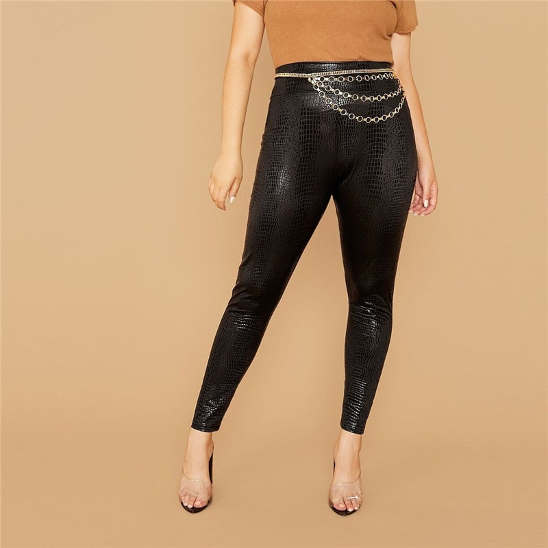 Casual Wide Waistband Snakeskin Crop Plus Size Leggings Without Chain - Black - WOMENEXY