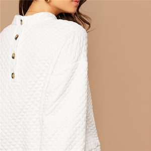 Casual Button Back Lantern Sleeve Textured Pullover - White - WOMENEXY