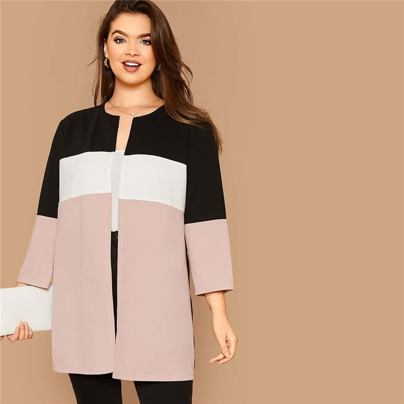 Casual Cut-and-Sew Open Front Plus Size Coat