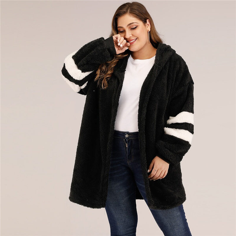 Casual Varsity Striped Hooded Teddy Plus Size Coat - Black - WOMENEXY