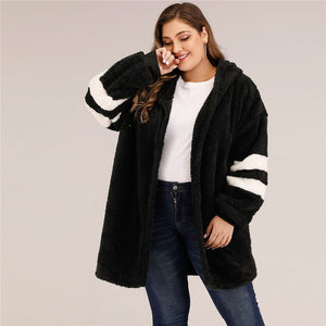Casual Varsity Striped Hooded Teddy Plus Size Coat - Black