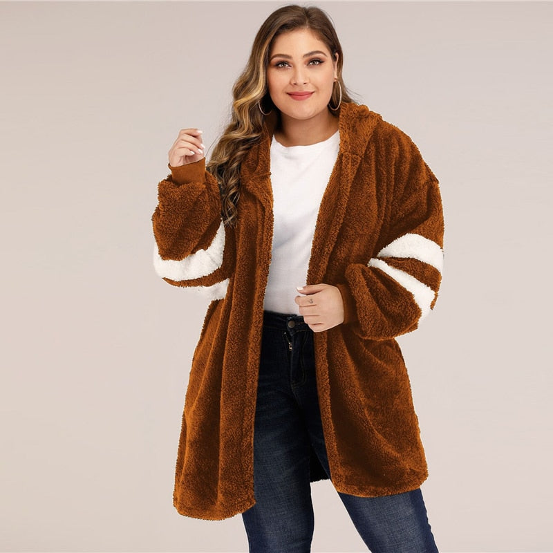 Casual Varsity Striped Hooded Teddy Plus Size Coat - Brown - WOMENEXY
