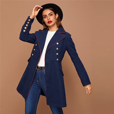 Elegant Lapel Collar Gold Button Detail Contrast Piping Coat - Navy - WOMENEXY