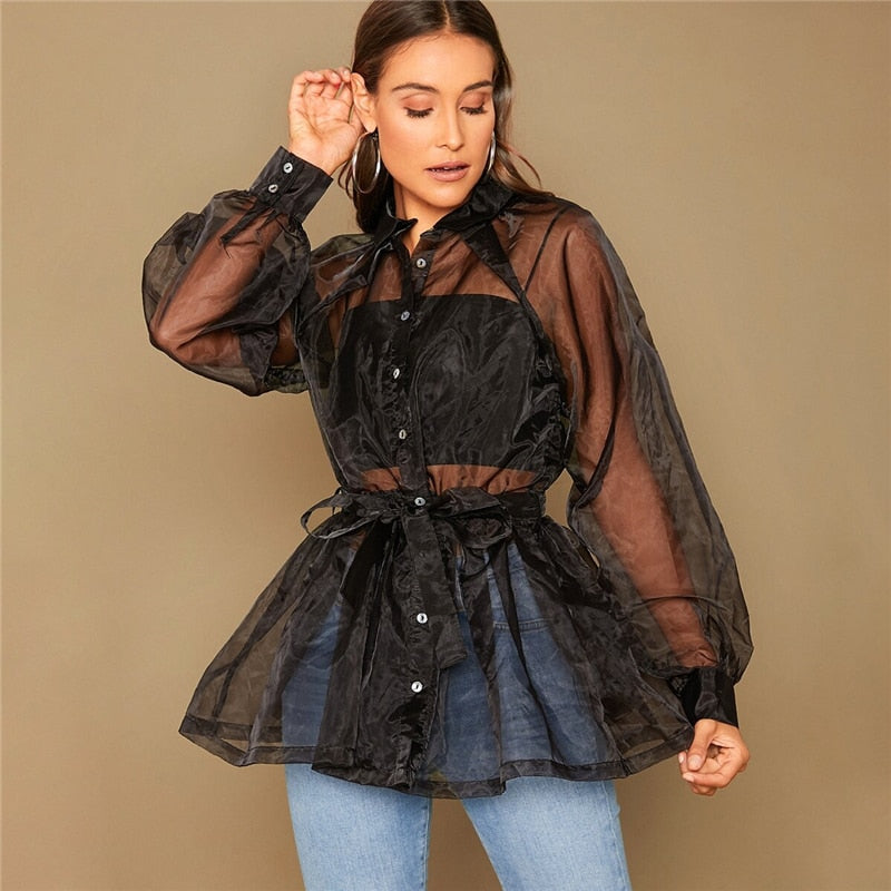 Glamorous Solid Self Belted Peplum Organza Shirt Without Cami - Black