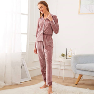 Casual Notched Collar Textured Button Front Velvet Pajama Sets - Pink