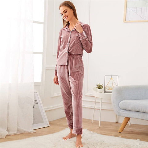 Casual Notched Collar Textured Button Front Velvet Pajama Sets - Pink - WOMENEXY