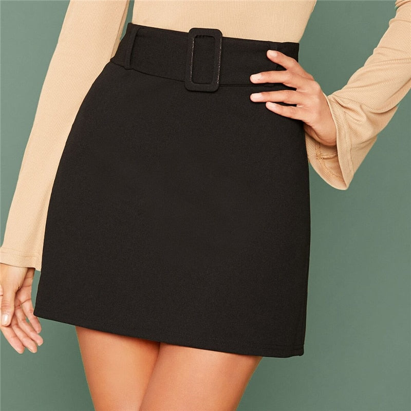 Elegant Buckle Belted Solid Skirts - Black