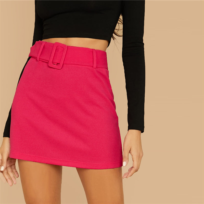 Elegant Buckle Belted Solid Skirts - Bright Pink