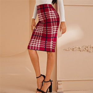 Elegant Plaid Print Pencil Skirt - Red