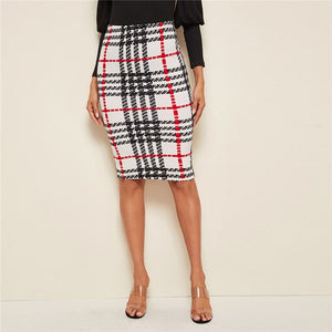 Elegant Plaid Print Pencil Skirt